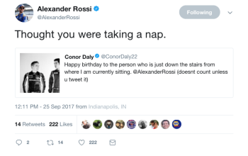 Conor Daly Alexander Rossi Twitter IndyCar