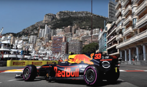 Max Verstappen Red Bull Racing at the new chicane in the 2017 Monaco Grand Prix.