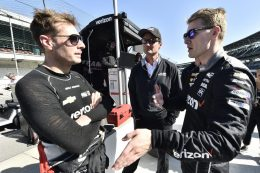 Will Power Josef Newgarden of Team Penske chat at IMS