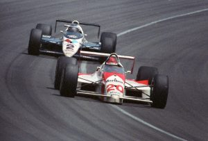 Emerson Fittipaldi racing for Penske in the 1989 Indy 500 a race he would later win.