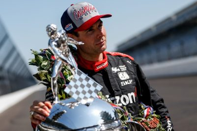 Will Power 2018 Indy 500 champion with Borg-Warner trophy at IMS