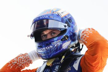 Scott Dixon indycar chip ganassi racing - dixon prepares his race helmet for action at the Honda 200 at Mid-Ohio