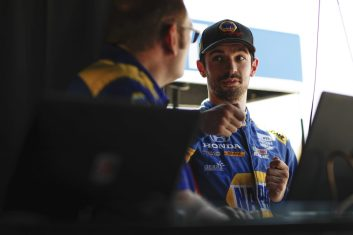 Alexander Rossi discusses setup during the Iowa 300 Indycar race at Iowa Speedway, July 2019.
