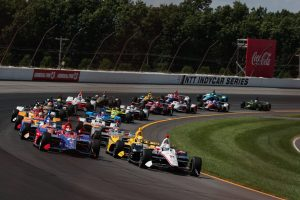 ABC Supply Pocono 500 Indycar - the field takes the green flag at the start of the race